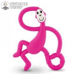Terapeutyczny Gryzak Masujący ze Szczoteczką Matchstick Monkey Dancing Pink