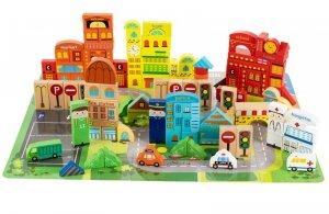 Drewniane klocki edukacyjne z matą puzzle 196 elementów Ecotoys