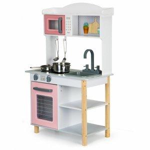 Drewniana kuchnia dla dzieci + metalowe akcesoria Ecotoys