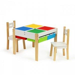Drewniany zestaw mebli dla dzieci zestaw stół + 2 krzesła