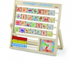 Drewniana tabliczka 3w1 Nauka alfabetu, godzin, liczenia Viga
