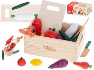 Klocki drewniane warzywa magentyczne do krojenia + akcesoria