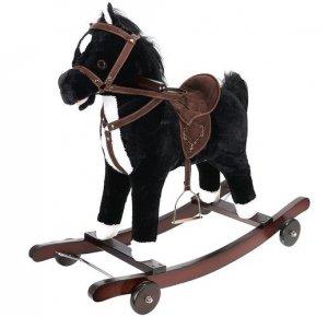 Koń na biegunach z kółkami czarno-biały
