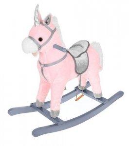 Koń na biegunach 74cm różowo-srebrny K9337