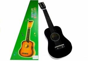 Gitara drewniana klasyczna dla dzieci z kostką Czarna 60 cm