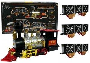 Muzyczna kolejka na baterie Parowóz z wagonami