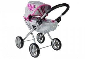 Wózek dla lalek Alice szaro-różowy w gwiazdki