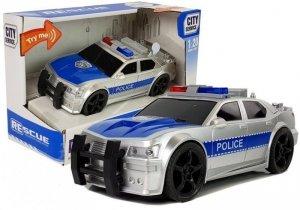 Autko Policyjne 1:20 Napęd Frykcyjny Dźwięk Efekty Świetlne Srebrne