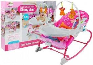 Leżaczek bujaczek fotelik krzesełko 2w1 różowy