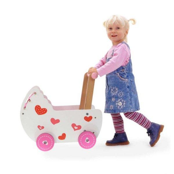 Wózek dla lalek z pościelą Ecotoys