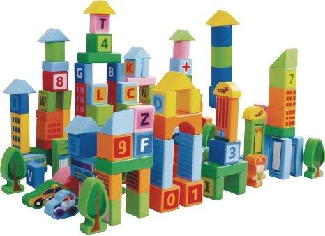 Drewniane klocki edukacyjne miasto 100 szt. sorter Ecotoys