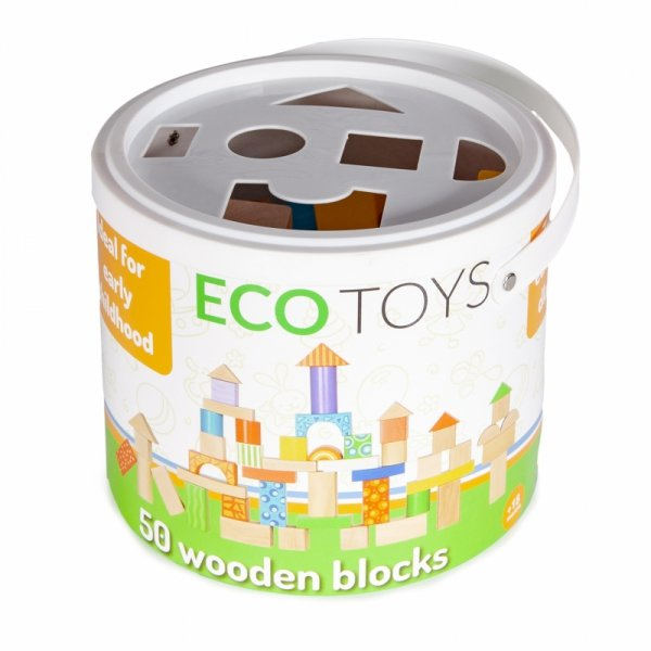 Klocki drewniane kolorowe 50 sztuk Ecotoys