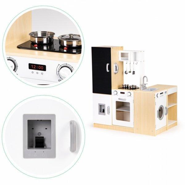 Mega duża drewniana kuchnia dla dzieci XXL tablica + led Ecotoys