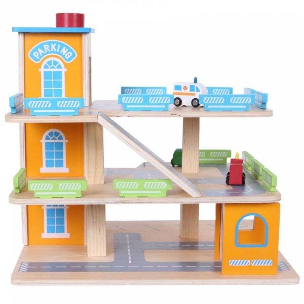 Drewniany garaż tor z windą + autka Ecotoys