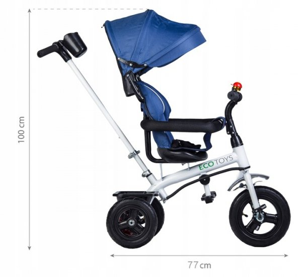 Rower trójkołowy wózek jeździk pchacz BLUE  Ecotoys