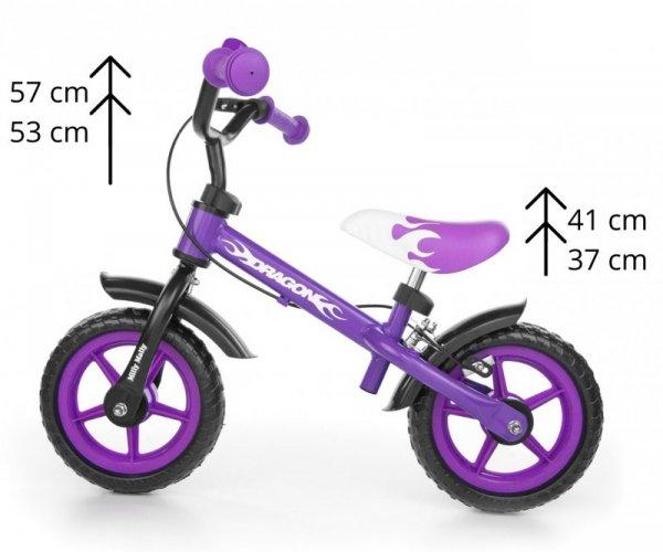 Rowerek biegowy Dragon z hamulcem violet Milly Mally