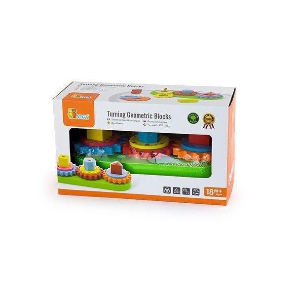 Drewniany edukacyjny sorter kształtów z zębatkami Viga