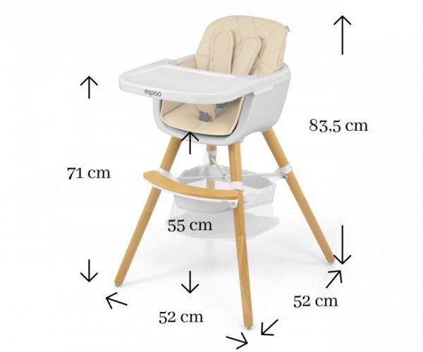 Krzesełko do karmienia 2w1 Espoo Beige Milly Mally