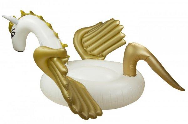 Materac dmuchany jednorożec biało złoty 240x240x12