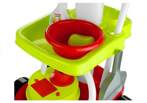 Zestaw Do Sprzątania Wózek Mop Miotła 9 Elementów