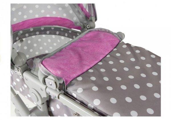Wózek dla lalek Alice szaro-różowy w groszki