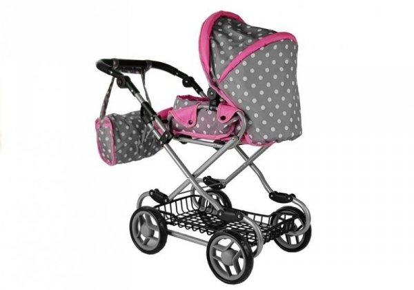 Wózek dla lalek Alice Szaro-Różowy z Nosidełkiem