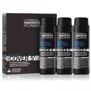 L'ORÉAL PROFESSIONNEL Homme Cover 5' żel do koloryzacji włosów dla mężczyzn 3x50ml (5 Light Brown)