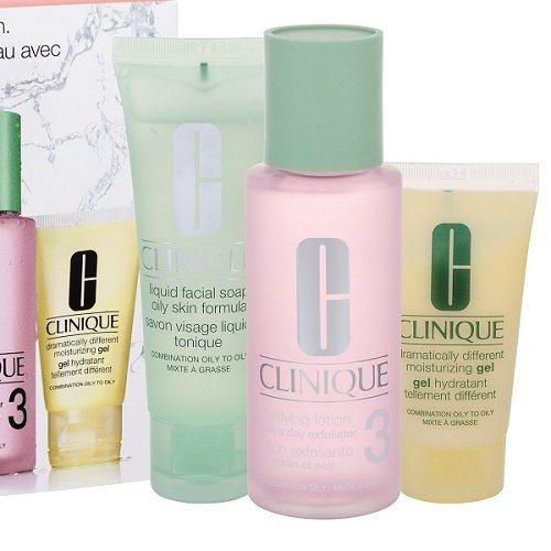 ZESTAW CLINIQUE 3-step Skin Care 3 System cera mieszana i tłusta mydło w płynie do twarzy 50ml + tonik 100ml + emulsja do twarzy