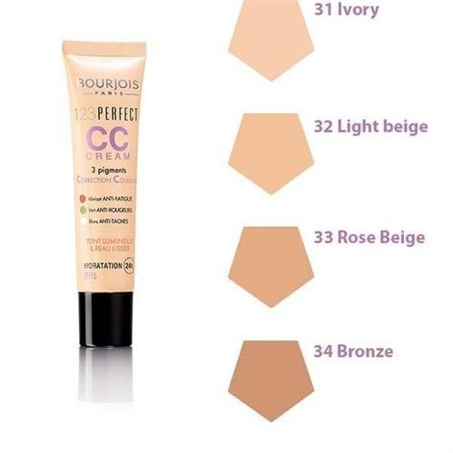 BOURJOIS 123 Perfect CC Cream krem CC dla kobiet z pigmentami korygujacymi 30ml (34 Bronze)