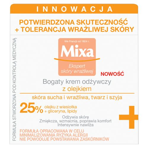 MIXA Ekspert skóry wrażliwej bogaty krem odżywczy z olejkiem skóra wrażliwa i sucha 50ml