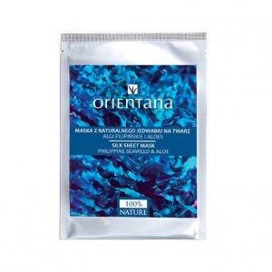 Orientana, Maska z jedwabnej tkaniny na twarz - nasączona biopeptydami, ekstraktem z alg filipińskich i aloesu
