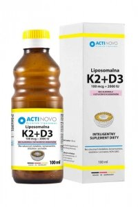 ACTINOVO Liposomalna Witamina K2 100mcg + D3 2000IU bez alkoholu - 100ml (50 dni)
