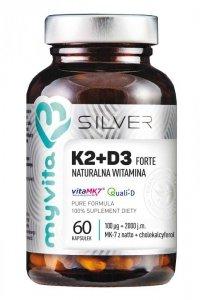 SILVER 100% Witamina K2+D3 60kaps. (100mcg + 2000IU) MyVita