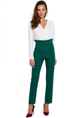 K008 Spodnie z wysokim stanem i falbanką - zielone