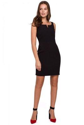 K022 Sukienka mini z dekoltem karo - czarna