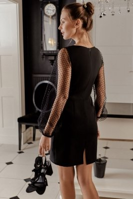 K032 Sukienka z bufiastymi rękawami w groszki - czarna