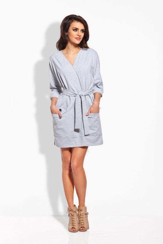 L121 Sukienka kimono z paskiem jasnoszary