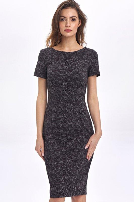 Dopasowana, ołówkowa sukienka - wzór/bordo - CS48