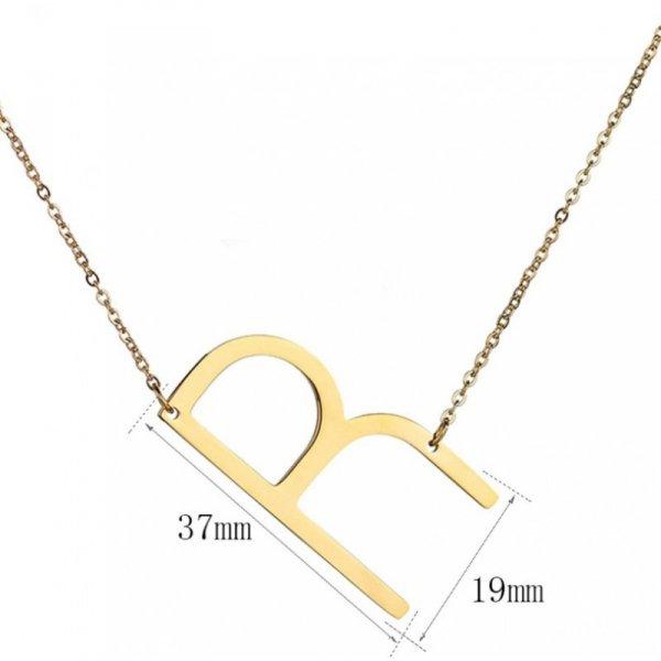 Naszyjnik stal chirurgiczna literka R platerowana złotem NST995R