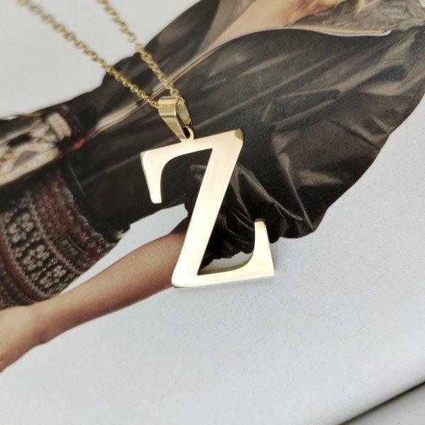 Naszyjnik stal chirurgiczna literka platerowana złotem NST100Z