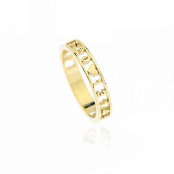 Pierścionek stal chirurgiczna platerowana złotem PST601, Rozmiar pierścionków: US7 EU14