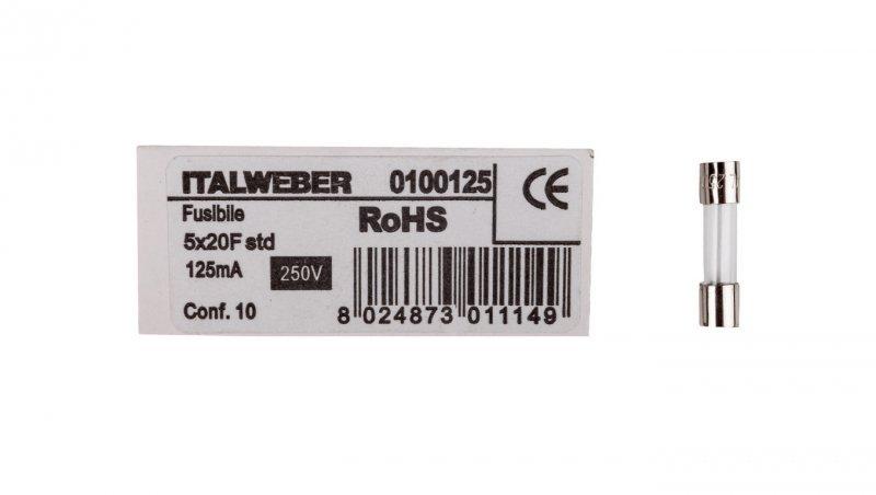 Wkładka aparatowa 5x20mm 0,125A szybka (F) L520FK00-125 /10szt./