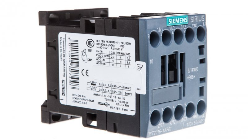 Stycznik mocy 9A 3P 110V AC 1Z 0R S00 3RT2016-1AF01