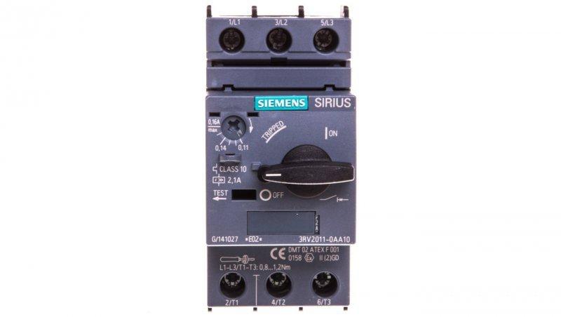 Wyłącznik silnikowy 3P 0,05kW 0,11-0,16A S00 3RV2011-0AA10
