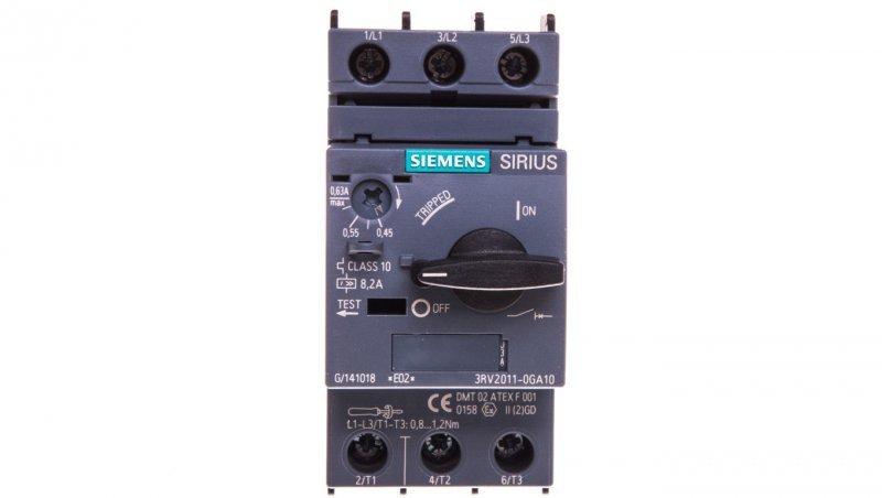 Wyłącznik silnikowy 3P 0,18kW 0,45-0,63A S00 3RV2011-0GA10