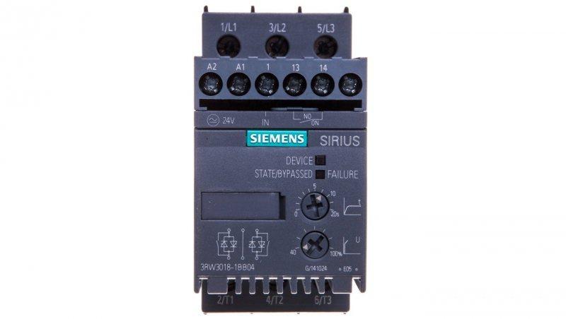 Softstart 3-fazowy 200-480VAC 17,6A 7,5kW/400V Uc=24V AC/DC S00 3RW3018-1BB04