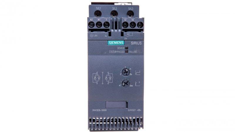 Softstart 3-fazowy 200-480VAC 45A 22kW/400V Uc=24V AC/DC S2 3RW3036-1BB04