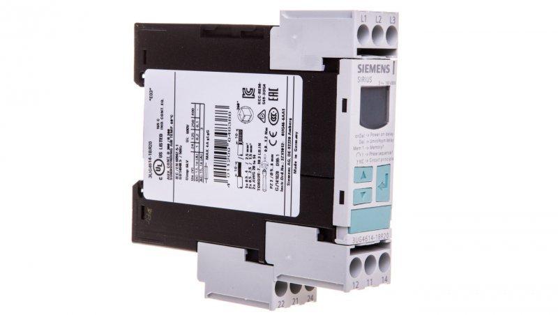 Przekaźnik kolejności, zaniku faz i obniżenia napięcia 2P 3A 0,1-20sek 160-690V AC wyświetlacz LCD 3UG4614-1BR20