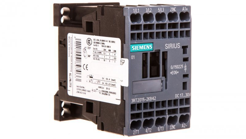 Stycznik mocy 7A 3P 24V DC 0Z 1R S00 3RT2015-2KB42