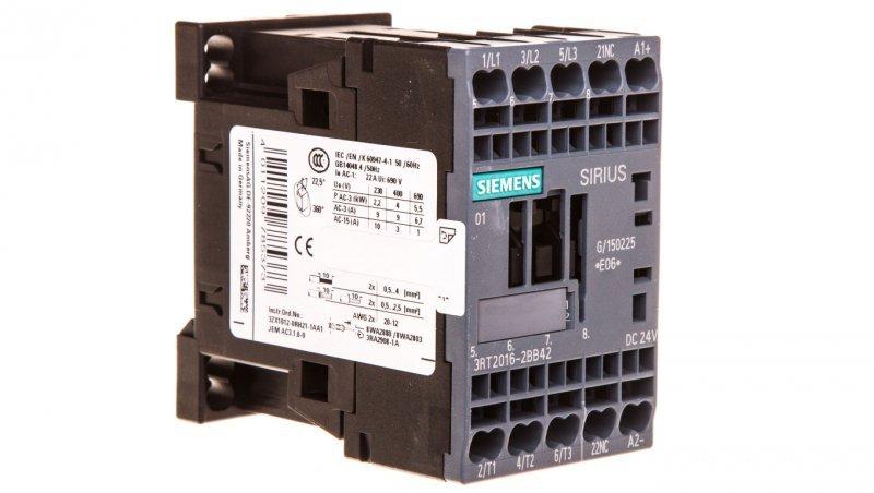 Stycznik mocy 9A 3P 24V DC 0Z 1R S00 3RT2016-2BB42